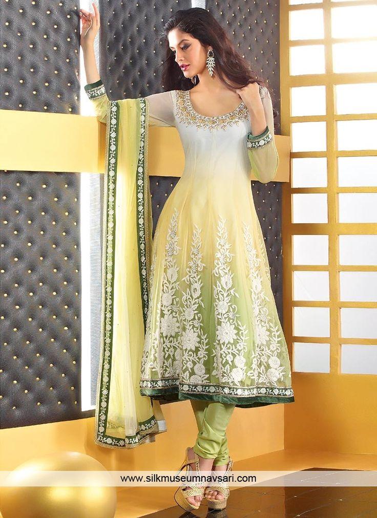 Mesmerizing Green Net Churidar Suit