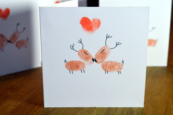 Handmade Fingerprint Reindeer Love Christmas Card with Envelope - Square aprox 5 x 5 (aprox 13cm x 13cm)  Reindeer Love  Ideal for your loved one at