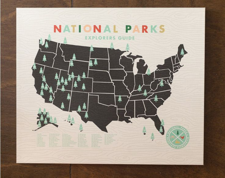 national parks map, printed on canvas | etsy