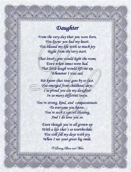 For Daughters, Happy Birthday Daughter Poems, My Daughter, Daughters ...