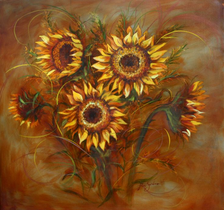 Sunflowers - Oil Painting by Julie Sneeden