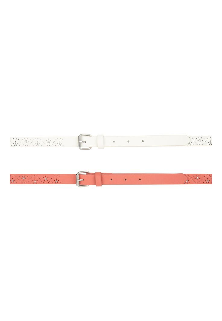 Make a glam addition to your collection of practical accessories with this two pack of women's cutout & stud belts. Featuring one in coral and another in whi...