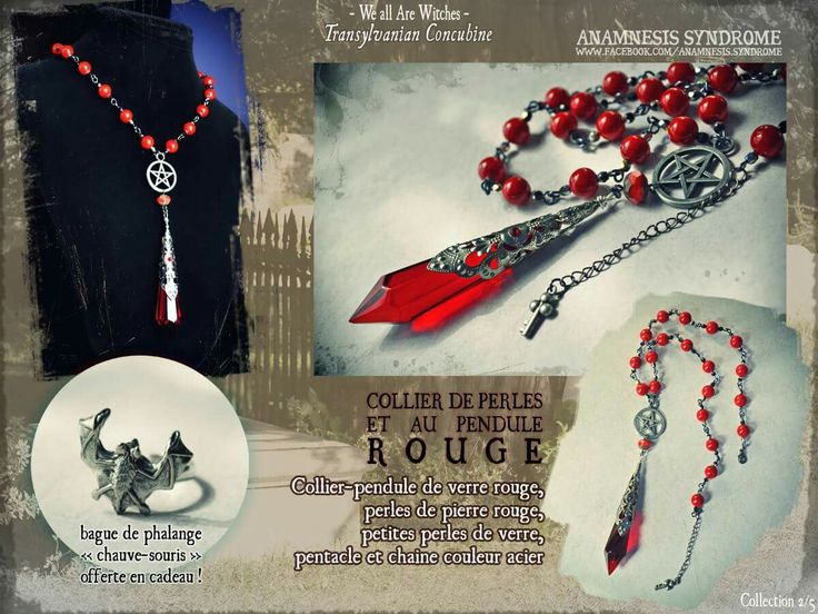 Red pendulum witchy necklace