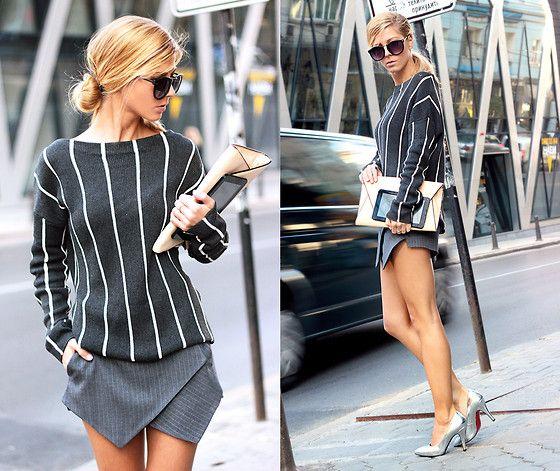 Sheinside Vertical Stripe Sweater, Sheinside Skort, Choies Silver Metallic High Heels Shoes, Wholesale Celebshades  Sunglasses, Zara Clutch
