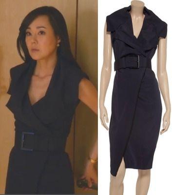 Mistresses Episode 10: Karen's (Yunjin Kim) Donna Karan New York Belted Crepe Wrap Dress #mistresses #getthelook
