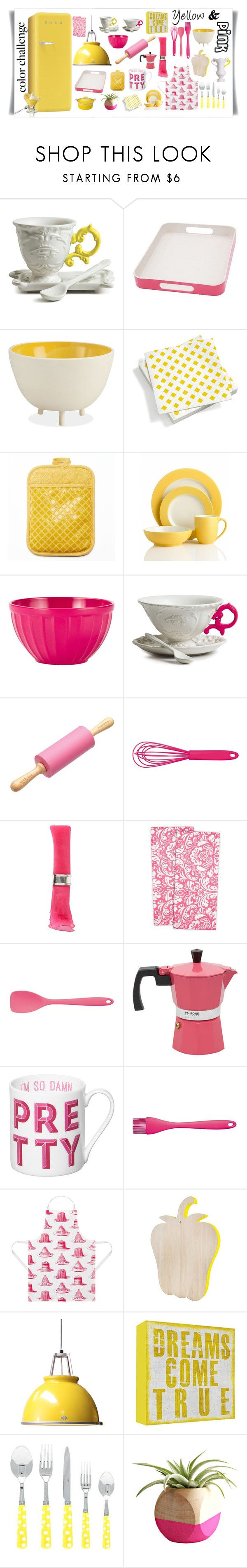 """Yellow & Pink"" by jane-pez ❤ liked on Polyvore featuring interior, interiors, interior design, home, home decor, interior decorating, Seletti, Vitra, Food Network and Noritake"