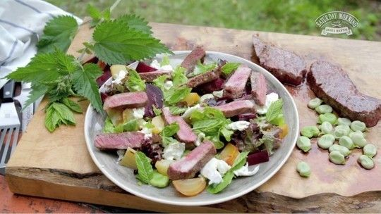Pan-fried sirloin with beetroot and broad bean salad
