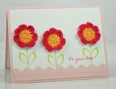 crochet flowers card