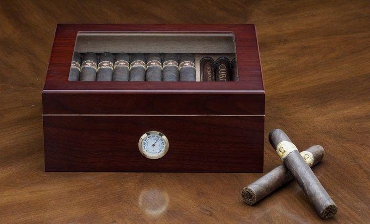 Wood Cigar Humidor Humidifier Display Hygrometer Smoker Case Glass Top Cabinet #WoodCigarHumidor