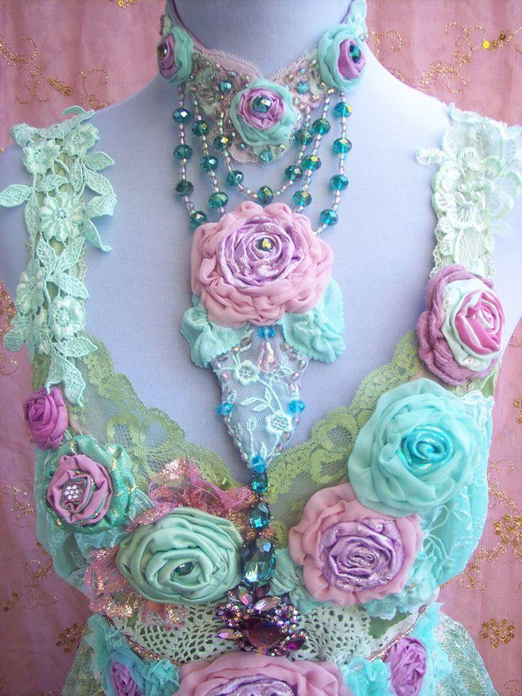 Azure Green & Mauve Rose Blossom Crystal Choker by roselanijasmin