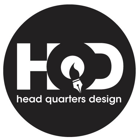 """Company logo in black. Hidden inside the """"Q"""" are a paintbrush and fountain pen - symbolic of our core passions."""