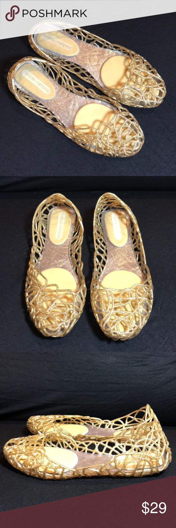 Melissa + Campana Zig Zag Flats Playful Melissa flats composed of an intricate web of flexible, glitter-encrusted PVC. A curved top line gives the pair a barely there look. Rubber sole. Fabric: Rubber. Imported, Brazil, no stains or holes, lots of life left 😍 Melissa Shoes