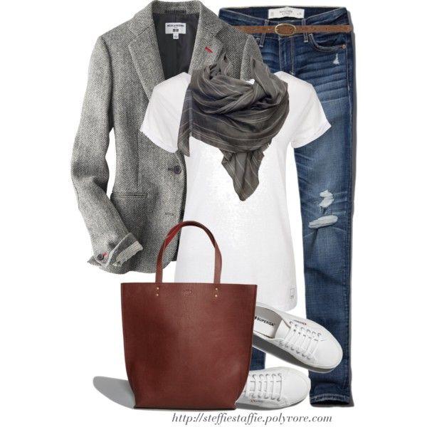 """Tweed blazer, Cashmere scarf & Sneakers"" by steffiestaffie on Polyvore"