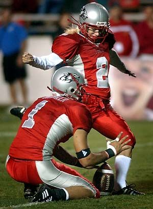 On August 30, 2003, New Mexico's Katie Hnida became the first woman to score in a Division I college football game.Texas States San, Extra Point, States San Marco, Mexico, Football Games, Colleges Football, College Football, Colleges Gameday, Katie'S Hnida Jpg 300 410