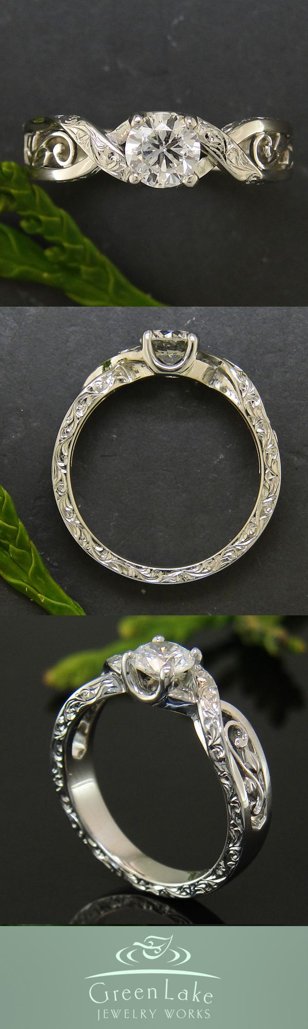 Engagement Ring - White gold and diamond ring with custom cross over design that boasts hand engraved details, hand fabricated leaves and filigree, and sapphires.