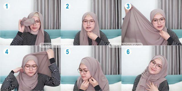 6 Tutorial Hijab Pashmina Untuk Wanita Berkacamata Simple Terbaru