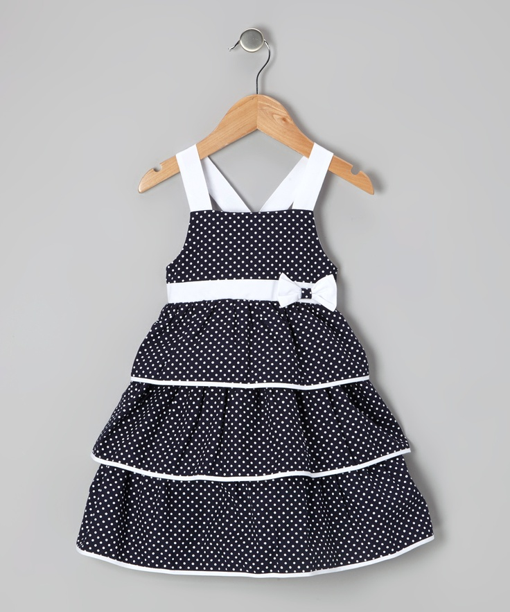 White & Navy Tiered Polka Dot Bow Dress - Infant & Toddler | Daily deals for moms, babies and kids