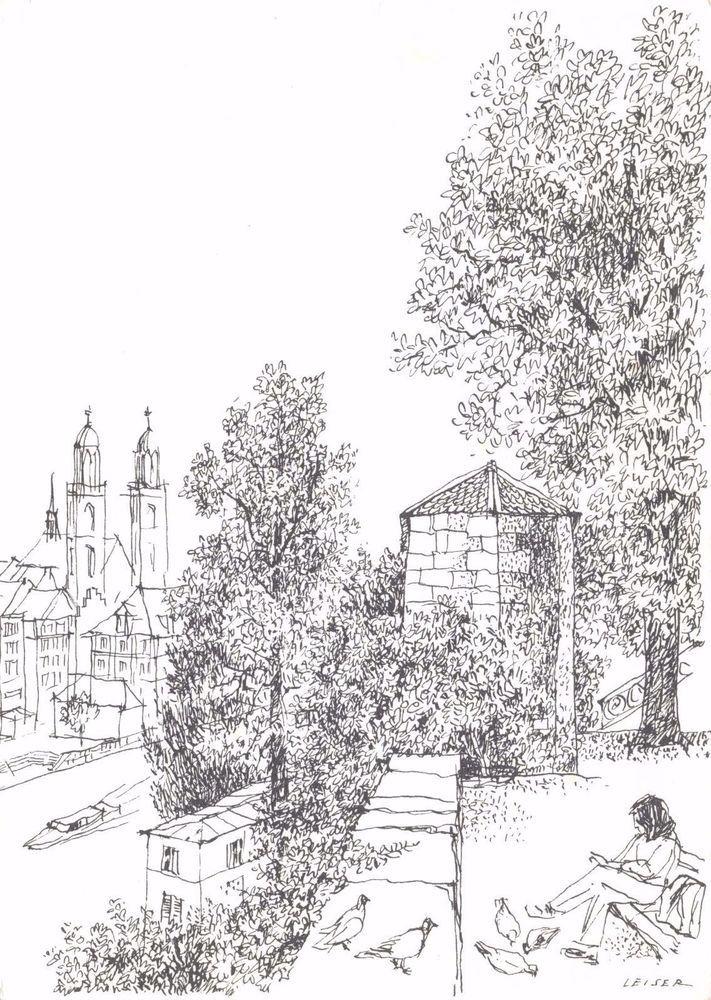 ICYMI: #Postcard #Art Sketch The Lindenhof and the Grossmunster, Zurich by Leiser #L