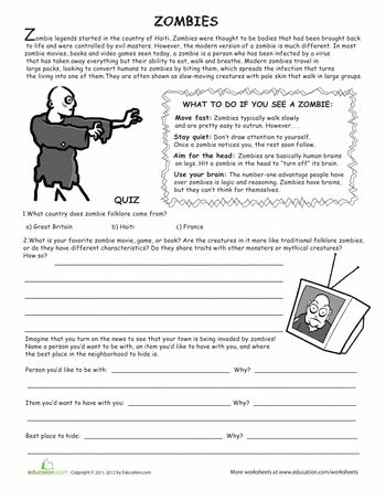 all about zombies spirit of halloweenspooky halloweenseasons worksheetsreading - Free Halloween Reading Comprehension Worksheets