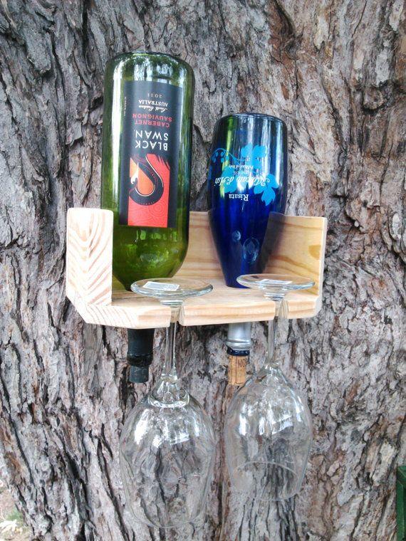 Pallet Wine Rack. Wine Glass Holder. 2 glass, 2 wine bottle holder. FREE SHIP within the United States.