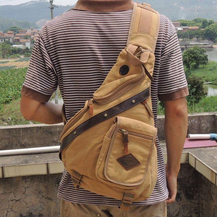 New Men Sling Bag Retro Chest Pack Messenger Shoulder Bag Travel ...