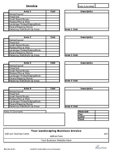 Landscaping Business Invoice Forms Template Sample Resume
