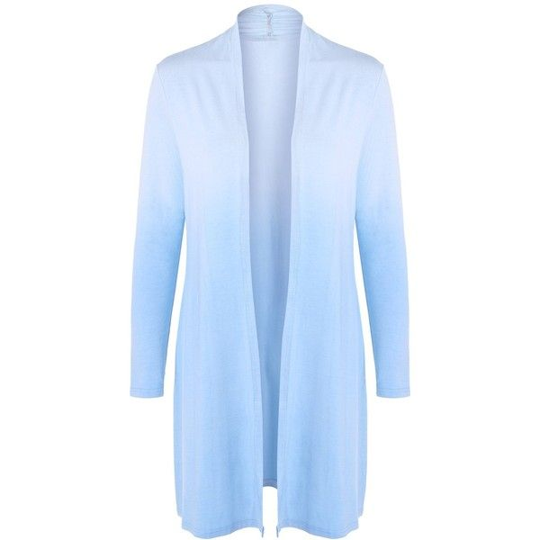 Light Blue 3xl Collarless Ombre Open Front Coat (£11) ❤ liked on Polyvore featuring outerwear, coats, blue coat, ombre coat, light blue coat, open front coat and collarless coats