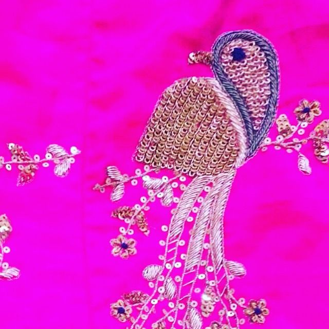 So much in love with this detail!     #prettylook  #designer #couture  #clothing #luxury #apparel  #happiness #embroidery  #intricate #fashion #bridal #wedding #skirt #gold  #lehenga  #pink #bird #motif #details  #indianfashion #fashionista #ootd  #ethnic  #bespoke  #apparel #colors #shaadi #desi