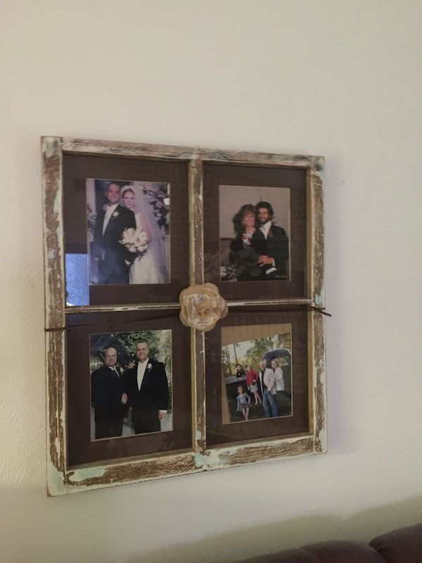 Used An Old Window That I Distressed And Use As A Picture Frame