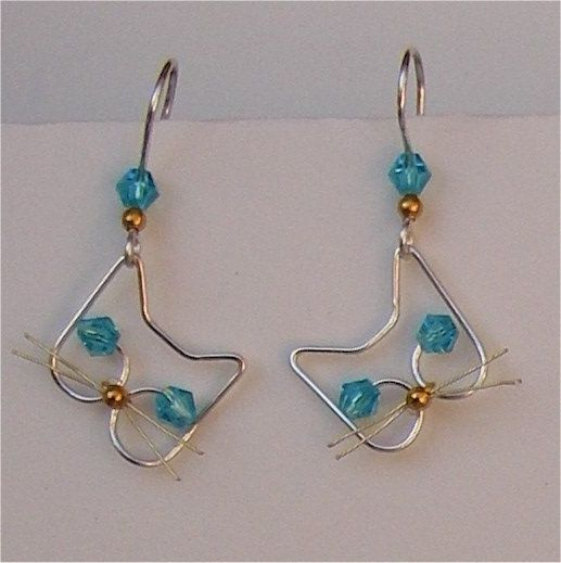 Silver Wire Blue Crystal Cat Earrings 1 pair by jillmh123 on Etsy, $12.50
