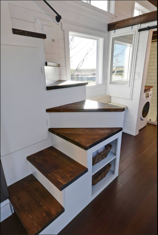 Oversize bathroom and kitchen take center stage in this tiny home