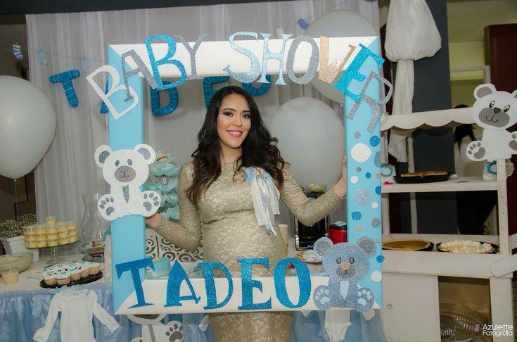 Cuadro de fotos Baby shower azul