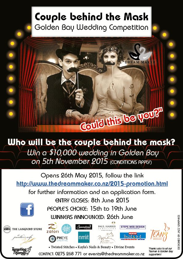 Win a $10'000 wedding in Golden Bay 2015. Closes 8th June.  Follow link to win