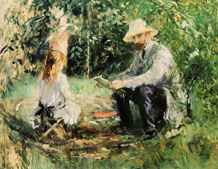 Birthe Morisot | Berthe Morisot, Eugene Manet and His Daughter, Julie, in the Garden