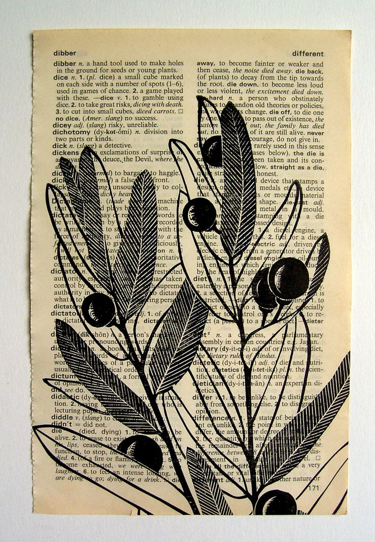 Berries linocut print on dictionary page by HenriKuikens on Etsy