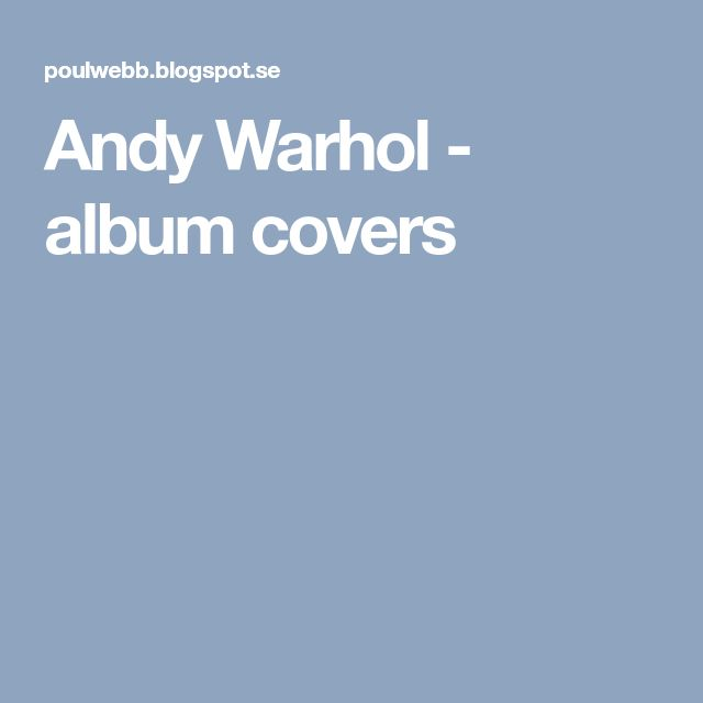 Andy Warhol - album covers