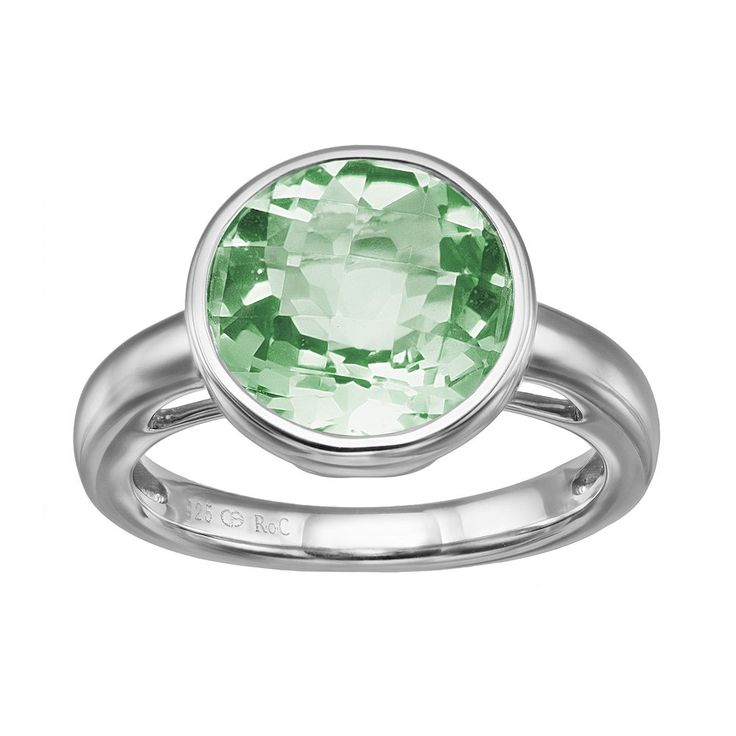 Green Quartz Sterling Silver Ring, Women's, Size: 5