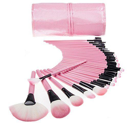 Maquillaje 32pcs Pinceles Madera Kit cosmético profesional compone el bolso Set + Funda