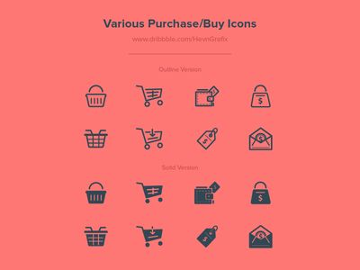 Dribbble - FREEBIES - Various Purchase/Buy Icons by HevnGrafix Creative