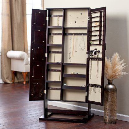 Belham Living Photo Frames Jewelry Armoire Cheval Mirror - Espresso - Jewelry Armoires at Hayneedle