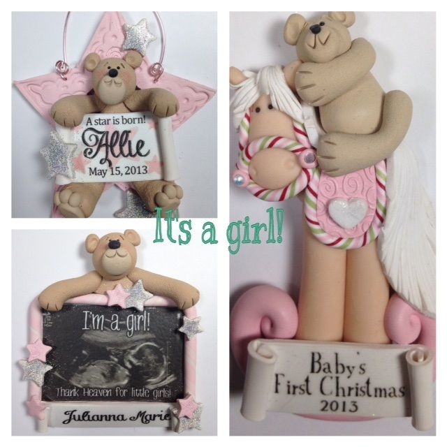 It's a girl! Gender reveal ornaments as well as baby's first Christmas from BertsClayCreations.com