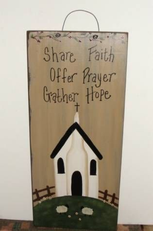 Handmade~I have handpainted this primitive wall faith board sign. I have added a church, sheep and a fence, with a berry vine at the top.  It has been painted with black underneath the topcoat and then distressed for more of a rustic look. Nice accent for your primitive country decor.   It has the saying. Share Faith, Offer Prayer, Gather Hope.    Measures 9.5 x 22long