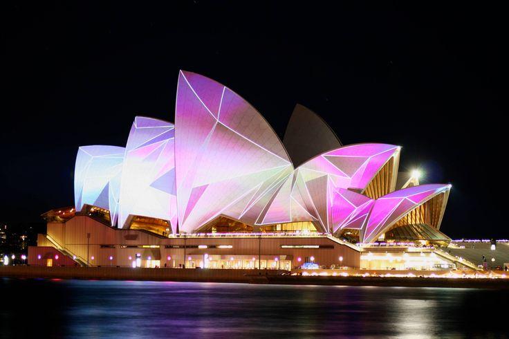 Sydney Opera House during a light festival