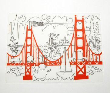 Kidz Box Fun on the Golden Gate Placemat With Markers contemporary-placemats