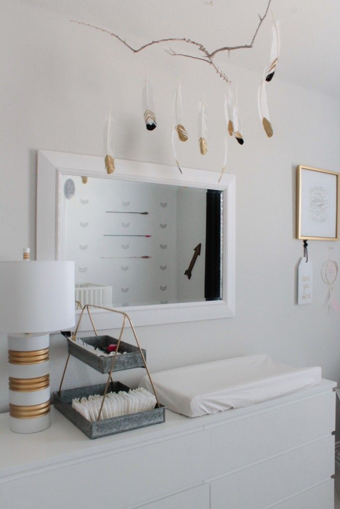 Project Nursery - Gold Dipped Feather Mobile - Project Nursery