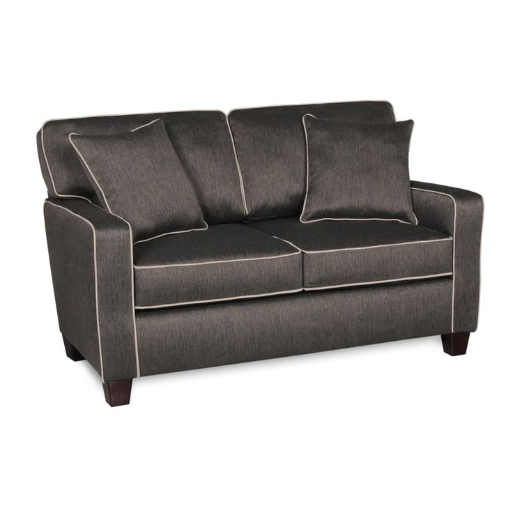Albany RTA Chloe Charcoal Love Seat with Contrasting Welt and 2 Toss Pillows - 1685S-10-SFB222-23594