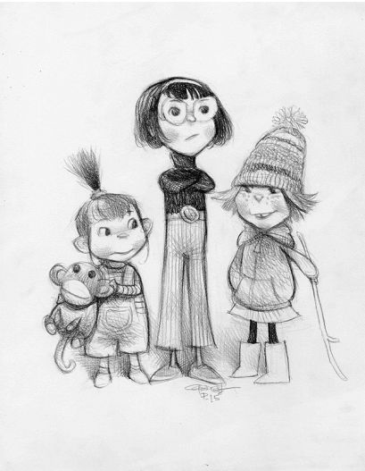 Despicable Me Character Sketches by Carter Goodrich - Little Girl Sketches: Libraries, Character Design Reference, Cartoon, Concept Art, Cartergoodrich, Character Sketch, Despicable Me, Carter Goodrich, Animal Comic