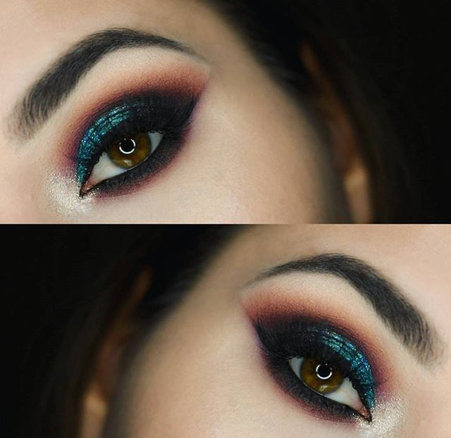 A cascade of color @m.akeupch.arm used the 35C palette to add a hint of dimension to her hazel eyes  #MorpheBabe