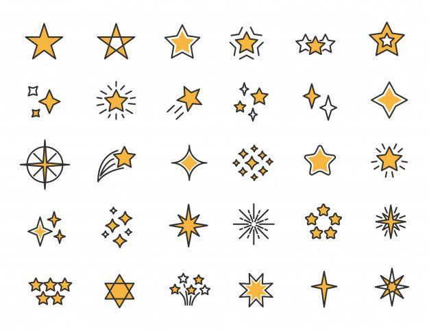 Conjunto De Icones De Estrelas Lineares Estrelas Brilha Icones Star Logo Design Star Tattoo Designs Anime Stars