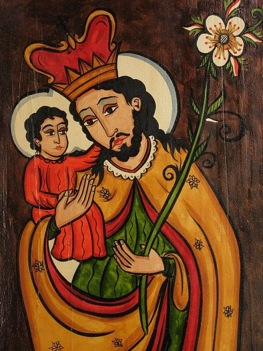 """#A detail of a beautiful """"retablo"""" depicting Saint Joseph. An example of contemporary Hispanic arts in northern New Mexico."""